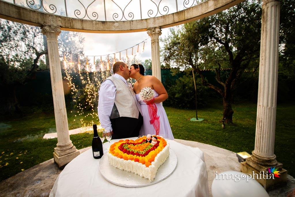 Taglio della torta nuziale a Villa Mary, Genzano