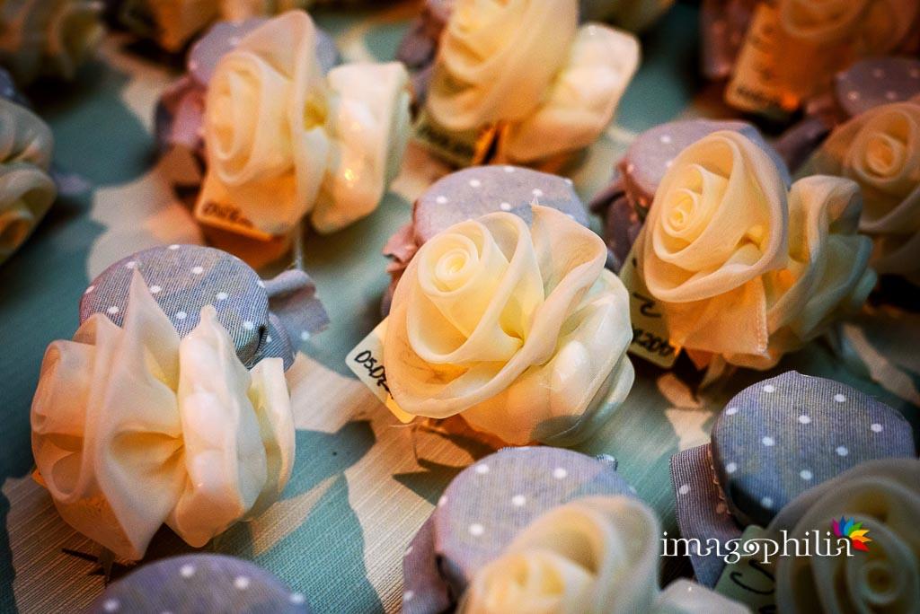 Dettaglio delle bomboniere di nozze allestite per il matrimonio a Villa Pocci