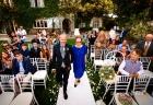Ingresso dello sposo all'inizio del matrimonio celebrato a Villa Pocci