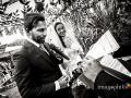 Gli sposi durante il matrimonio laico-umanista celebrato a La Collinetta Eventi di Vermicino (Roma)