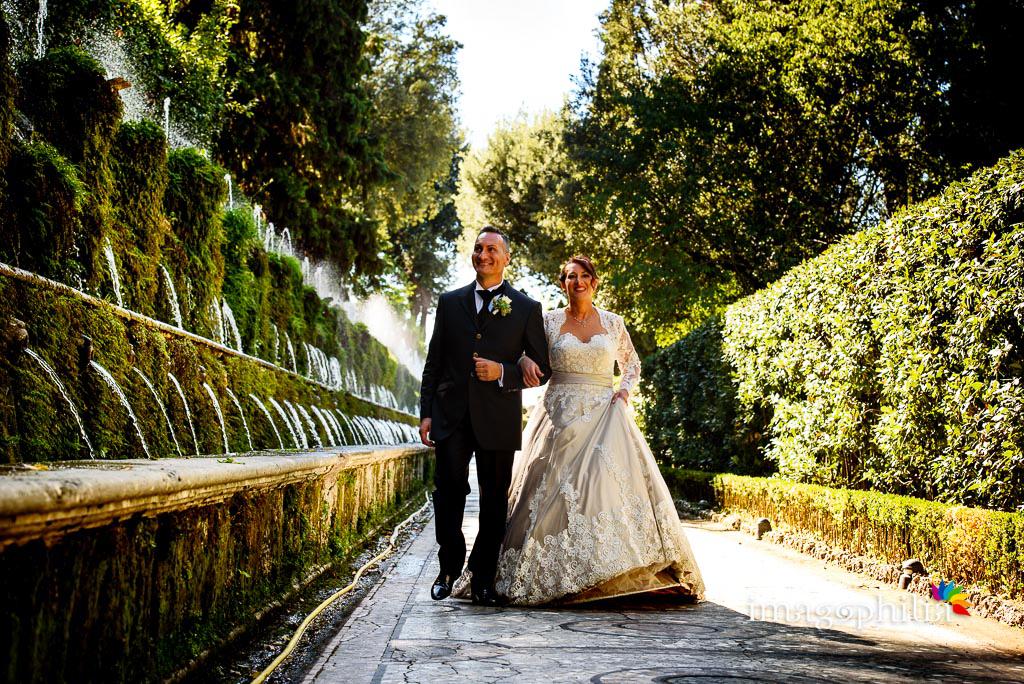 Passeggiata, dopo il matrimonio, a Villa d'Este a Tivoli / 2