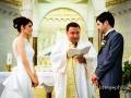 Consensi tra gli sposi durante il matrimonio nella Chiesa di Santa Maria Madre della Divina Grazia di Grottaferrata