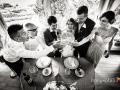 Brindisi tra gli sposi e i testimoni nella Villa dei Consoli a Frascati