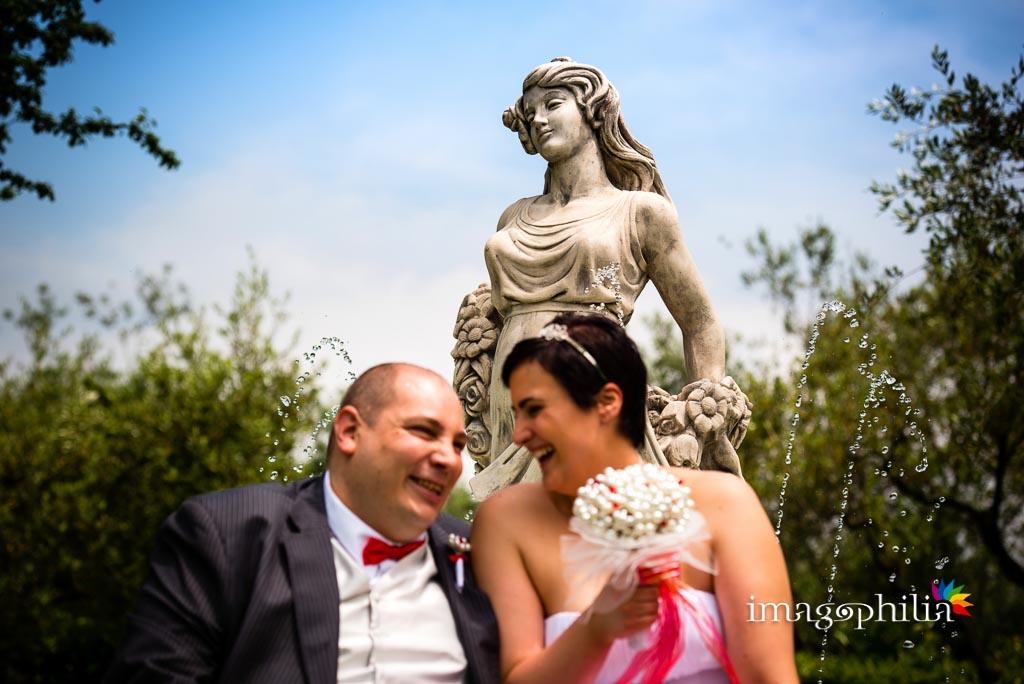 Ritratto degli sposi nel giardino di Villa Mary, Genzano