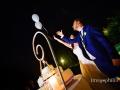 Lancio dei palloncini Led dopo il taglio della torta nuziale al ricevimento a Villa Pocci, Marino