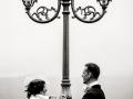 Gli sposi dopo il matrimonio nel borgo di Castel Gandolfo