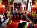 Gli sposi vengono uniti civilmente nella Sala Rossa al Campidoglio, Roma