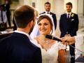Dichiarazione dei consensi durante il matrimonio nella chiesa di Santa Maria Madre della Divina Grazia a Grottaferrata