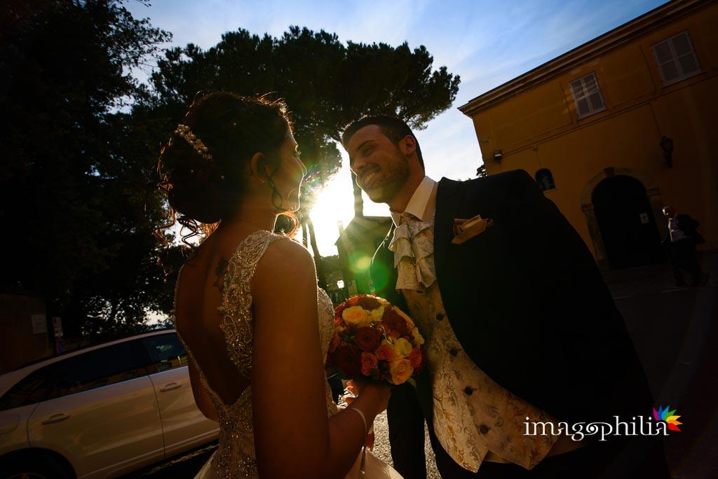 Gli sposi subito fuori dal borgo di Castel Gandolfo