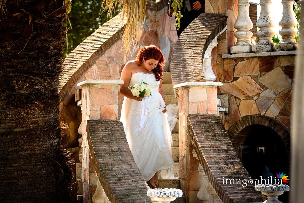 La sposa durante l'aperitivo a Villa Sesterzi, Fonte Nuova