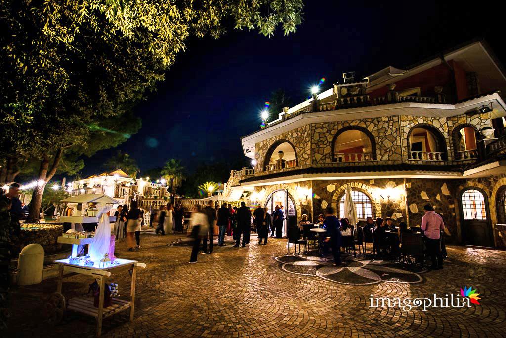 Vista notturna durante il ricevimento di matrimonio a Villa Sesterzi, Fonte Nuova