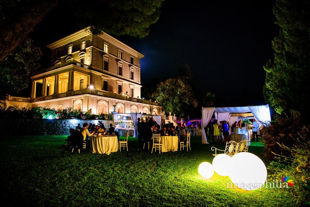 Ricevimento di matrimonio serale a Villa Augusta ad Ariccia