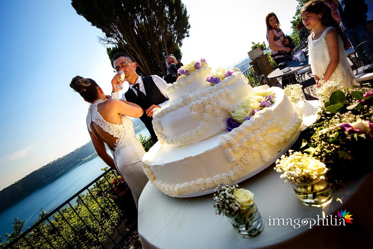 Brindisi dopo il taglio della torta durante il ricevimento di matrimonio a Villa Pocci (Marino, Via dei Laghi)